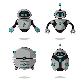 Kolekcja znaków maskotka ładny latający robot.