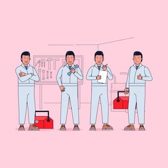 Kolekcja znaków mechanika duży zestaw izolowanych płaskich ilustracji noszących profesjonalny mundur, styl kreskówki.