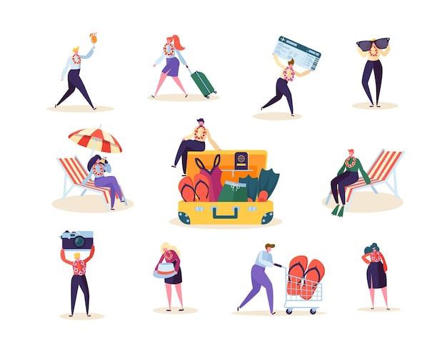 Kolekcja znaków mężczyzna i kobieta przygotowują się do tropikalnej podróży. szczęśliwi ludzie planujący letnią podróż na plażę.