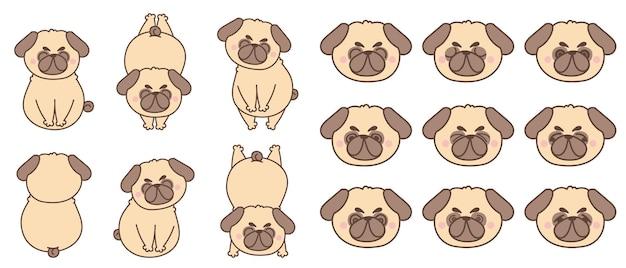 Kolekcja znaków mops pies kreskówka.