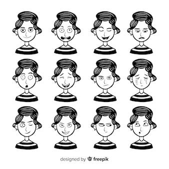 Kolekcja znaków o różnych wyrazach twarzy