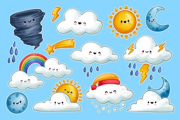 Kolekcja znaków pogodowych z kreskówek