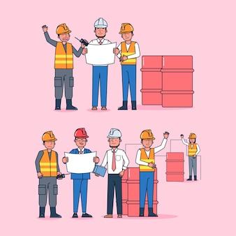 Kolekcja znaków pracownika duży zestaw izolowanych płaskich ilustracji noszących profesjonalny mundur, styl kreskówki na temat kopalni ropy naftowej