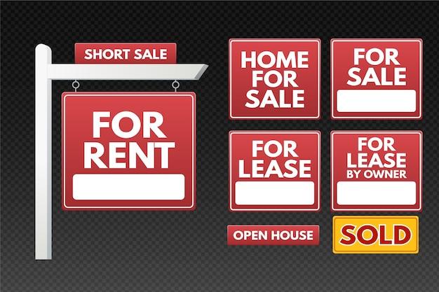 Kolekcja znaków sprzedaży nieruchomości