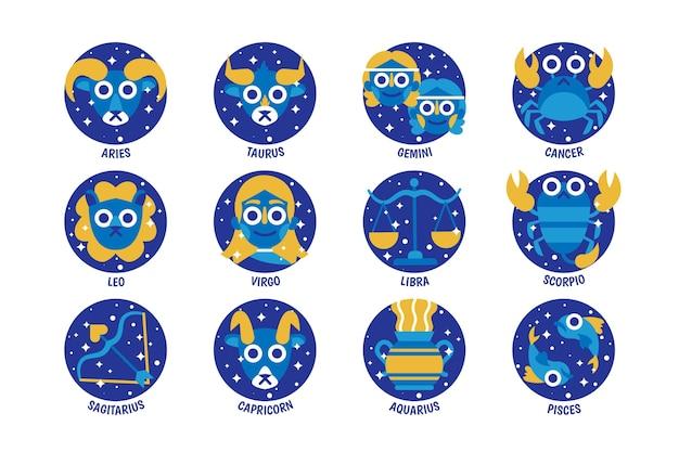 Kolekcja Znaków Zodiaku Kreskówka Darmowych Wektorów