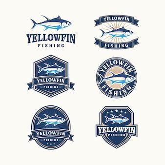 Kolekcja żółtopłetwych logo w stylu vintage