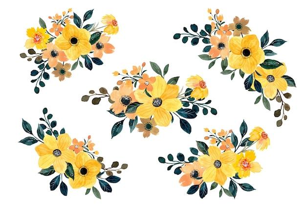 Kolekcja żółty bukiet kwiatowy z akwarelą
