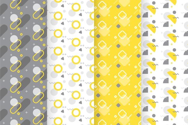 Kolekcja żółty i szary wzór geometryczny