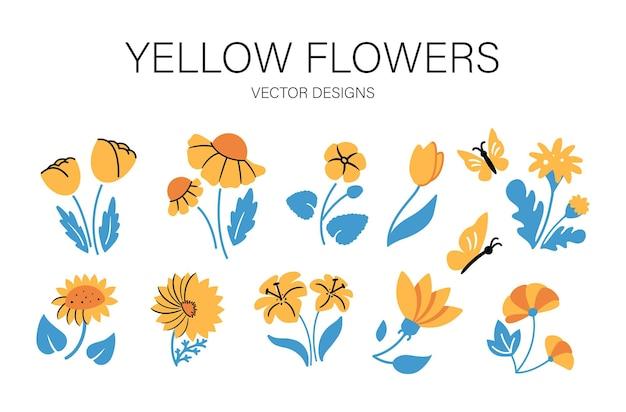 Kolekcja żółtych kwiatów.