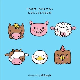 Kolekcja zwierząt gospodarskich w stylu wyciągnąć rękę