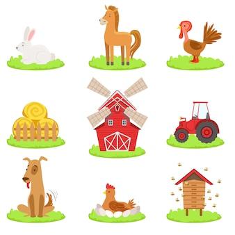 Kolekcja zwierząt i przedmiotów towarzyszących farmie