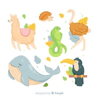 Kolekcja zwierząt kreskówek płaska konstrukcja