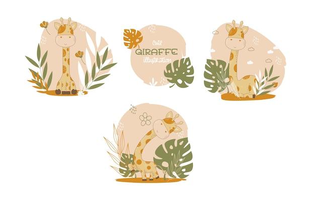Kolekcja zwierząt kreskówek słodkie żyrafy. ilustracji wektorowych.