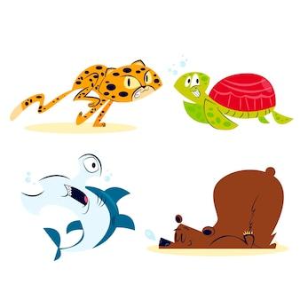 Kolekcja zwierząt kreskówek