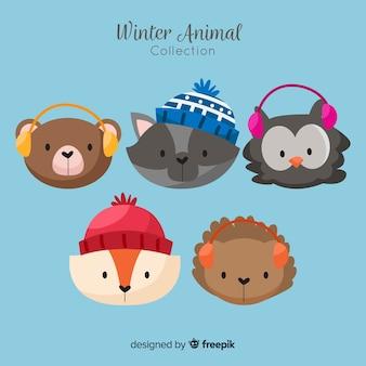 Kolekcja zwierząt ładny zimowy twarze