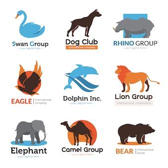 Kolekcja zwierząt logo płaskie symbole z orłem niedźwiedź wielbłąda i pies godło klub streszczenie ilustracji wektorowych na białym tle