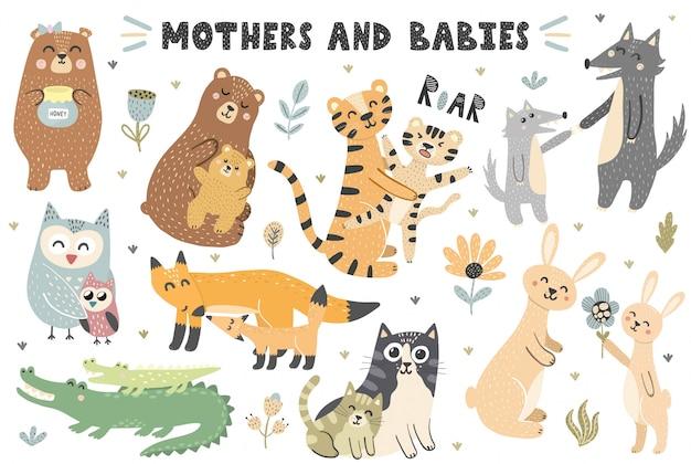 Kolekcja zwierząt matek i niemowląt. śliczne elementy do projektowania