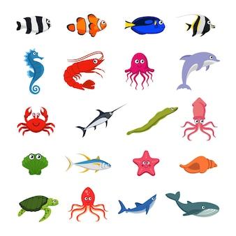 Kolekcja zwierząt morskich na białym tle