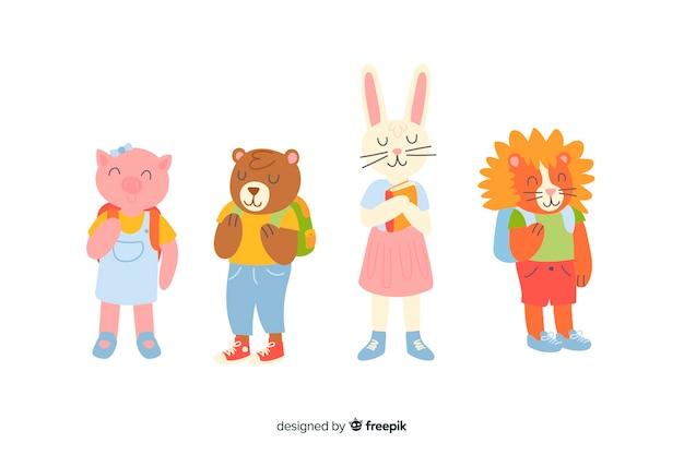 Kolekcja zwierząt na powrót do szkoły