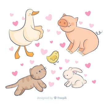 Kolekcja zwierząt otoczona sercami