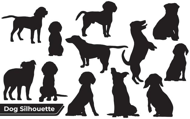 Kolekcja zwierząt pies w różnych pozycjach