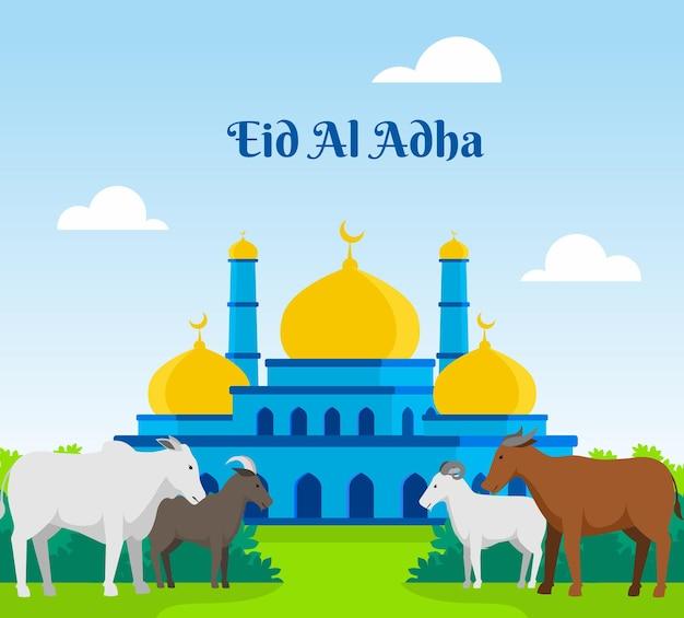 Kolekcja zwierząt qurban z ilustracją przedstawiającą krowy, owce i kozy w tle z meczetem