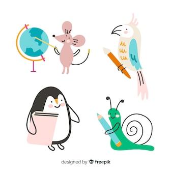 Kolekcja zwierząt uroczystości szkolnych