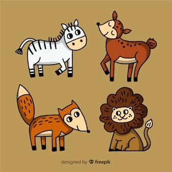 Kolekcja zwierząt w stylu dziecięcym