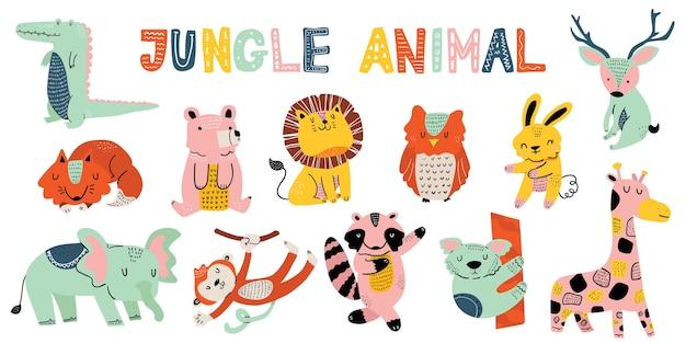 Kolekcja zwierząt z dżungli