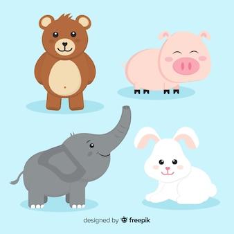 Kolekcja zwierząt z niedźwiedziem, świnią, słoniem i króliczkiem
