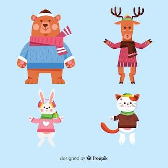 Kolekcja zwierząt zimowych