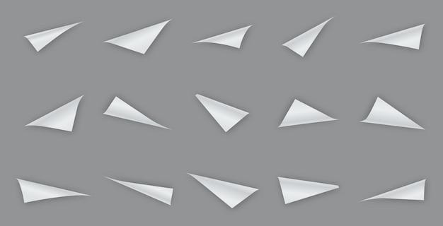 Kolekcja zwiniętych rogów papieru