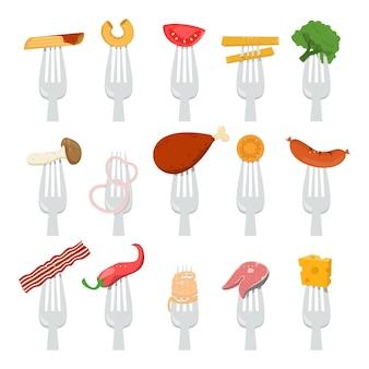 Kolekcja żywności na ilustracji widelce