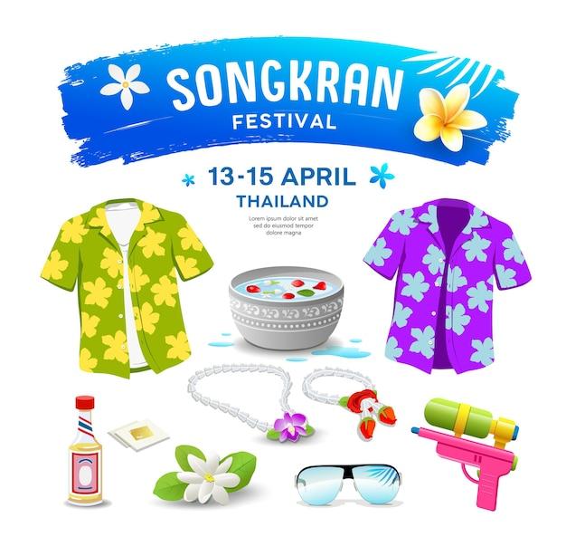 Kolekcje festiwalu songkran w tajlandii.
