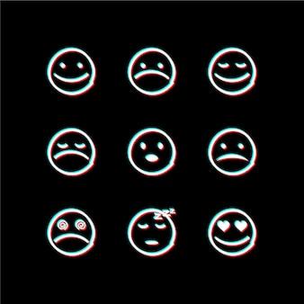 Kolekcje ikon emoji glitch