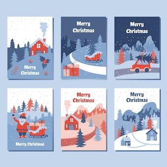 Kolekcje kart z pozdrowieniami świątecznymi, z pięknym zimowym krajobrazem ilustracja kreskówki