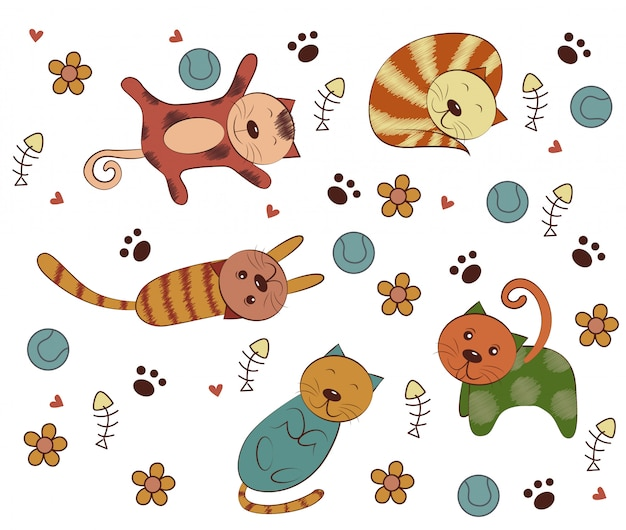Kolekcje koty kreskówki ręcznie rysowane stylu