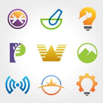 Kolekcje kreatywnych kolorowych symboli