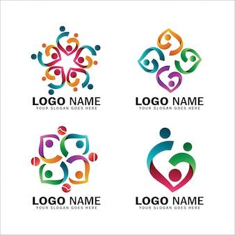 Kolekcje logo adopcji dzieci i fundacje charytatywne, paczka logo szczęśliwych symboli rodziny, położne, społeczności i stosunki społeczne