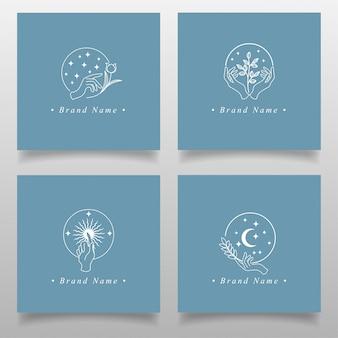Kolekcje logo piękna ręka edytowalny szablon dla mody