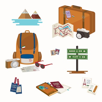 Kolekcje podróżnicze. przedmioty podróżne na baner, plakat lub aplikację.
