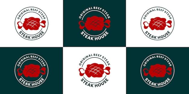 Kolekcje projektów logo restauracji stek. szablon logo odznaki