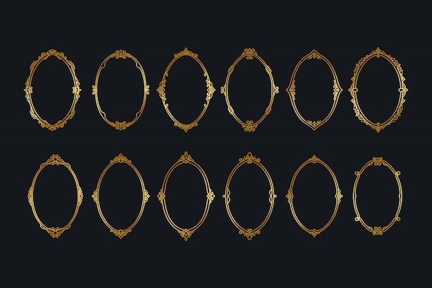 Kolekcje vintage golden frames borders