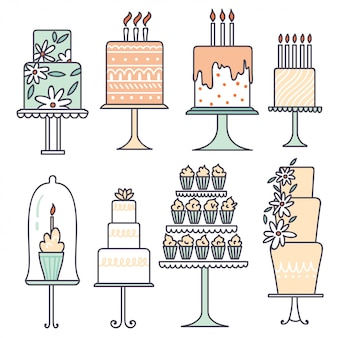 Kolekcje wektorowe z ciastami.