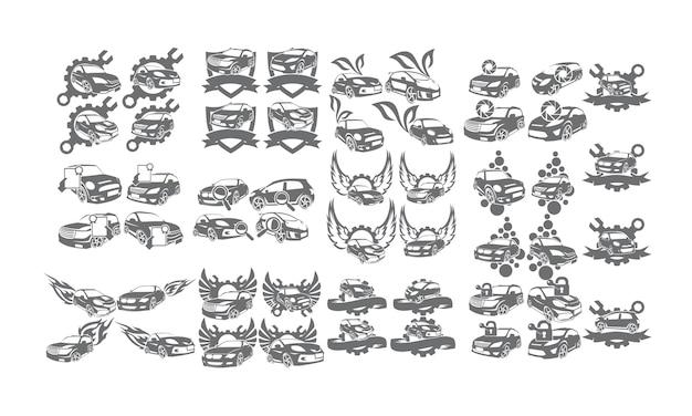 Kolekcje zestawów logo usług samochodowych