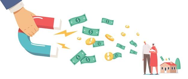 Kolekcjonerzy chase, koncepcja windykacji długów. ogromna rączka z magnesem przyciągająca pieniądze od postaci rodzinnych z noworodkiem na rękach. zapotrzebowanie na pożyczki finansowe od pożyczkobiorców. ilustracja kreskówka wektor