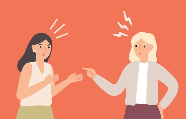 Koleżanki kłócą się, krzyczą na siebie. dziewczyny w konflikcie, komunikujące się z agresją i gniewem. kobiety kłócą się. wściekli i nerwowi ludzie o ilustracji wektorowych sporu