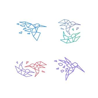 Koliber colibri ptak geometryczne logo wektor ikona