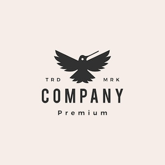 Koliber colibri ryk hipster vintage szablon logo