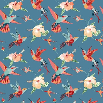 Koliber i tropikalny retro wzór